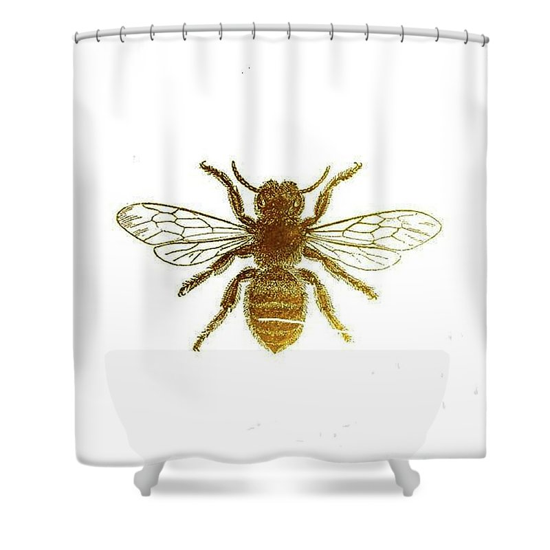 Bee Shower Curtain Featuring The Painting Golden By Vesna Antic