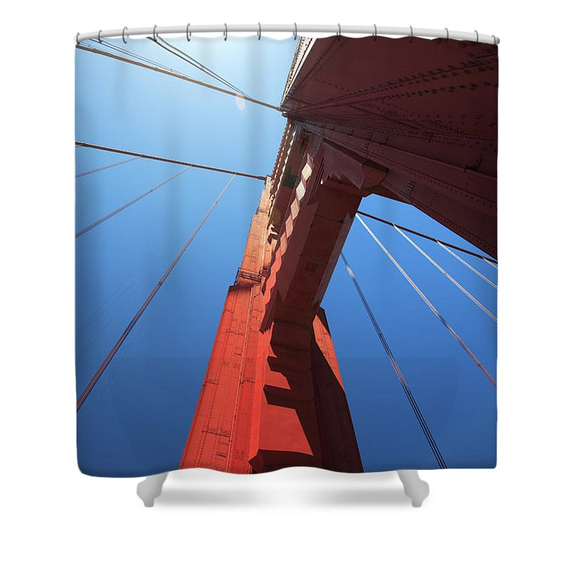 San Francisco Shower Curtain featuring the photograph Golden Gate Bridge Tower by Mortonphotographic