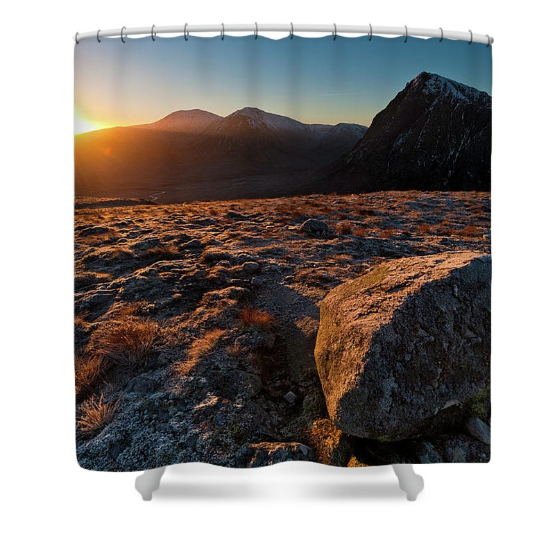 Rannoch Moor Shower Curtain featuring the photograph Golden Highland Dawn Glencoe Mountain by Fotovoyager
