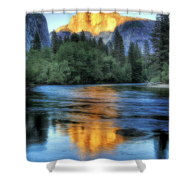 Scenics Shower Curtain featuring the photograph Golden Light On Half Dome by Mimi Ditchie Photography