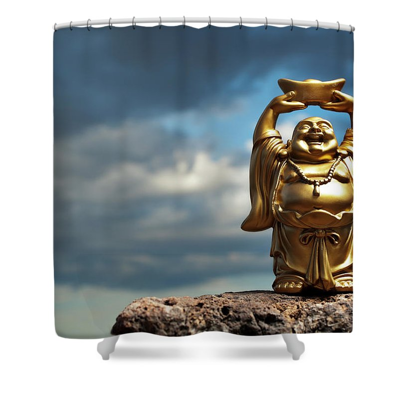 Chinese Culture Shower Curtain featuring the photograph Golden Prosperity Buddha by Wesvandinter