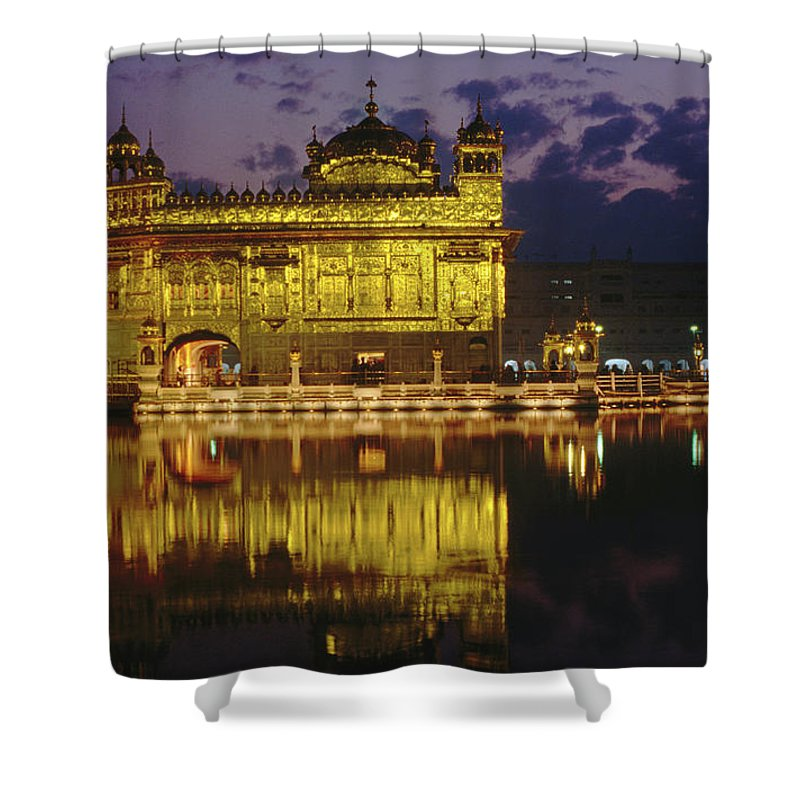 Golden Temple Shower Curtain featuring the photograph Golden Temple Harmandir Sahib On by Richard I'anson