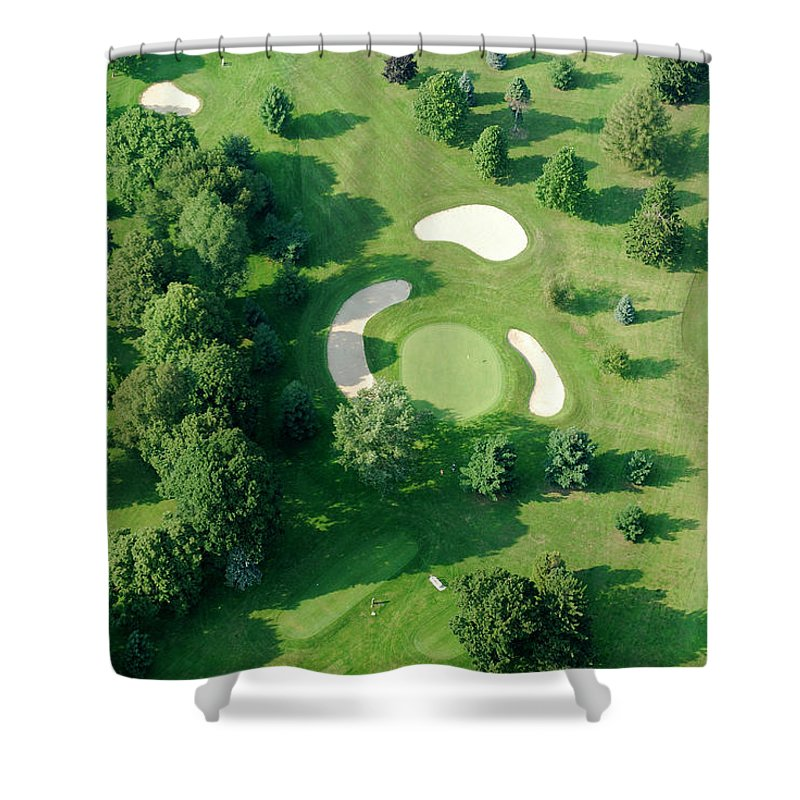 Sand Trap Shower Curtain featuring the photograph Golf Course Close Up From The Air by Groveb