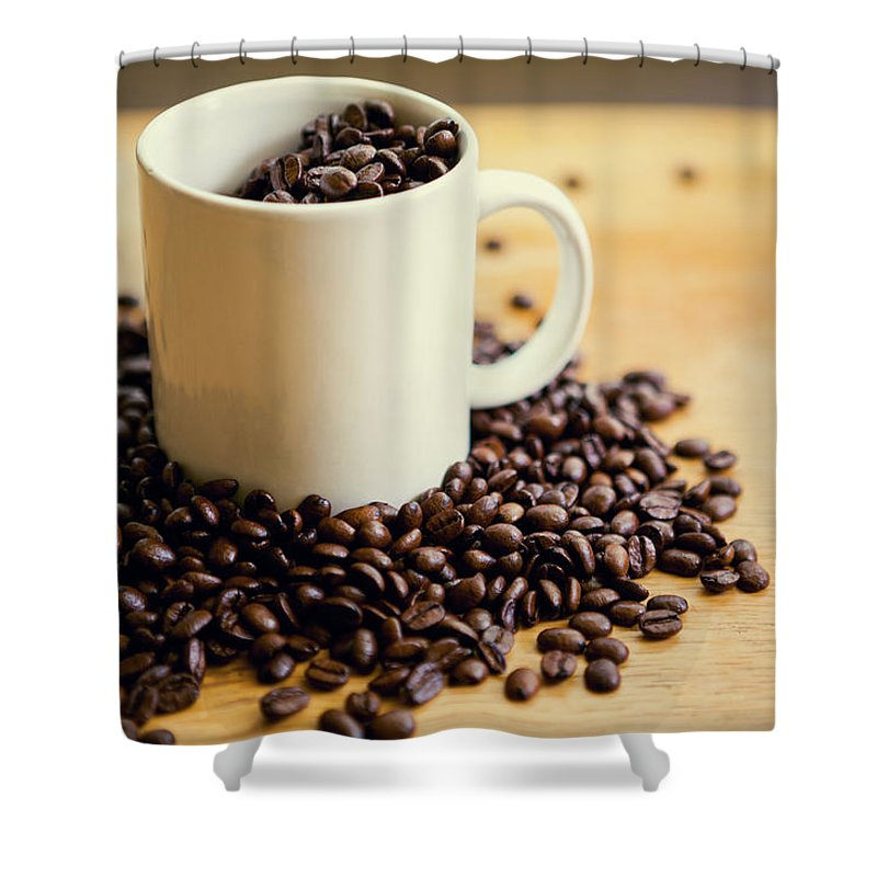 Breakfast Shower Curtain featuring the photograph Good Morning Coffee And Cup by Timnewman