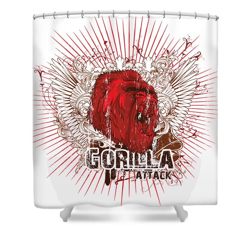 Animal Shower Curtain featuring the digital art Gorilla Attack by Passion Loft