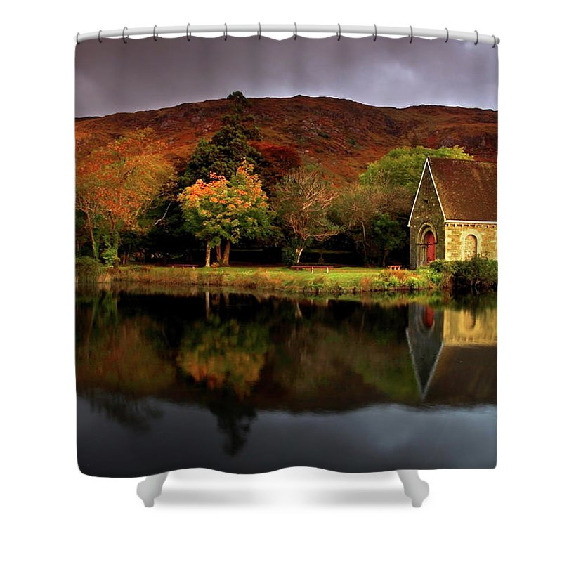 Tranquility Shower Curtain featuring the photograph Gougane Barra, Co.cork, Ireland by Sachin Polassery