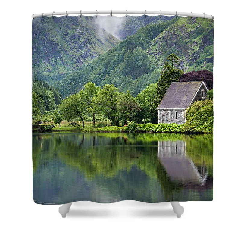 Tranquility Shower Curtain featuring the photograph Gougane Barra Forest Park And Lake by Bradley L. Cox