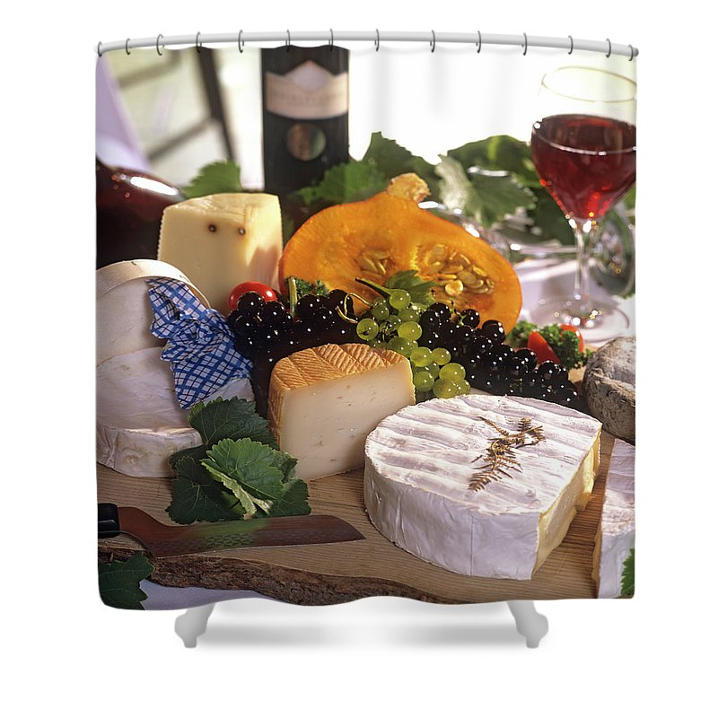 Cheese Shower Curtain featuring the photograph Gourmet Cheese Plate With Red Wine by Clu