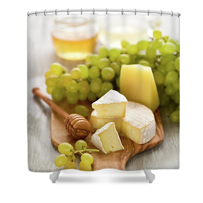 Cheese Shower Curtain featuring the photograph Grape, Honey And Cheese by Verdina Anna