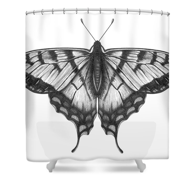 Art Shower Curtain featuring the digital art Graphite Illustration Of A Beautiful by Ranplett