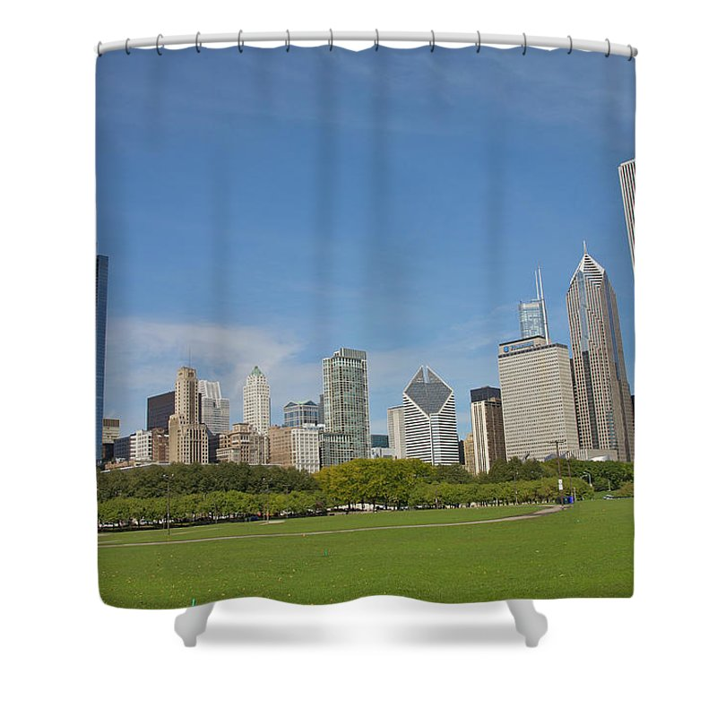 Tranquility Shower Curtain featuring the photograph Grassy Park In Front Of City Skyline by Barry Winiker