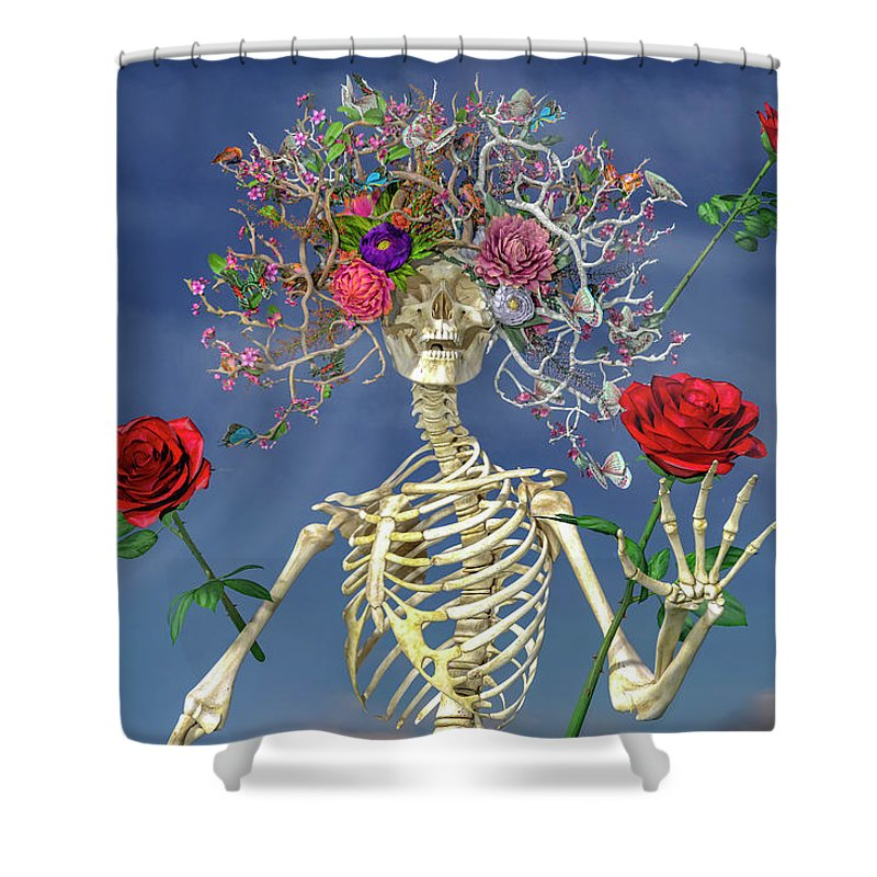 Skeleton Shower Curtain featuring the digital art Grateful Greetings And Good Times by Betsy Knapp