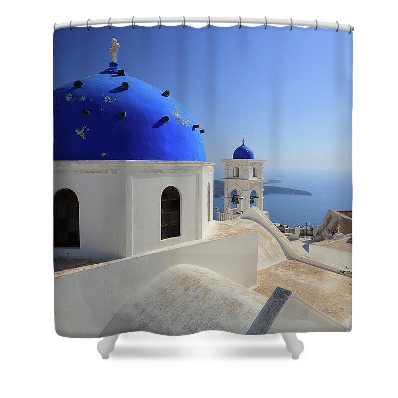Greek Culture Shower Curtain featuring the photograph Greek Church In Santorini by Iñigo Escalante