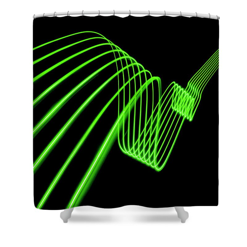 Laser Shower Curtain featuring the photograph Green Abstract Coloured Lights Trails by John Rensten