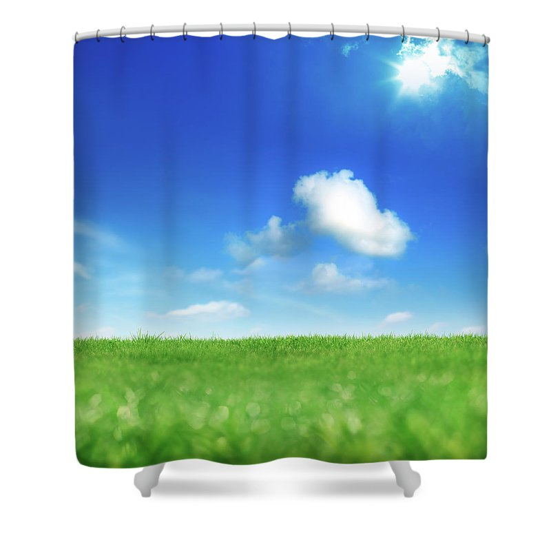 Scenics Shower Curtain featuring the photograph Green And Blue by Imagedepotpro