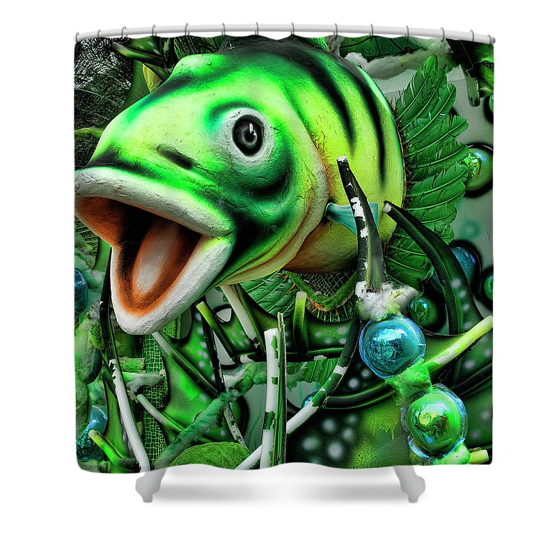 Dance Shower Curtain featuring the photograph Green Fish Ornament For A Latin Dance by David Smith