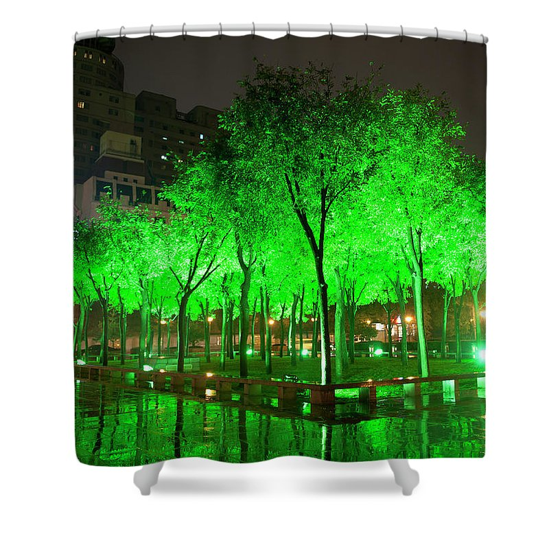 Outdoors Shower Curtain featuring the photograph Green Illuminated Trees, China by Shanna Baker