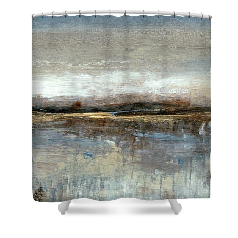 Abstract Shower Curtain featuring the painting Grey Mist II by Tim Otoole