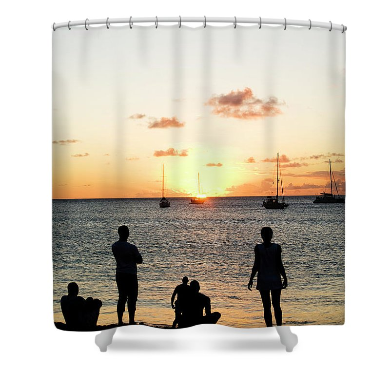 Recreational Pursuit Shower Curtain featuring the photograph Group Of Young Friends On Beach At by Jaminwell