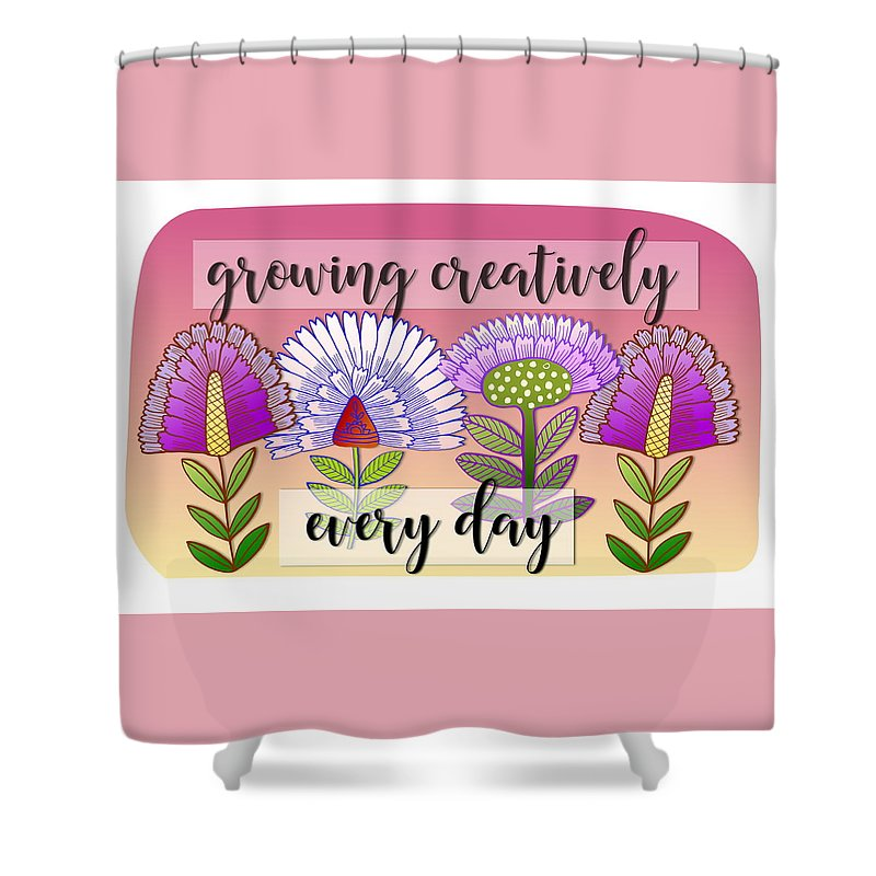 Flowers Shower Curtain featuring the digital art Growing Creatively by Elaine Jackson