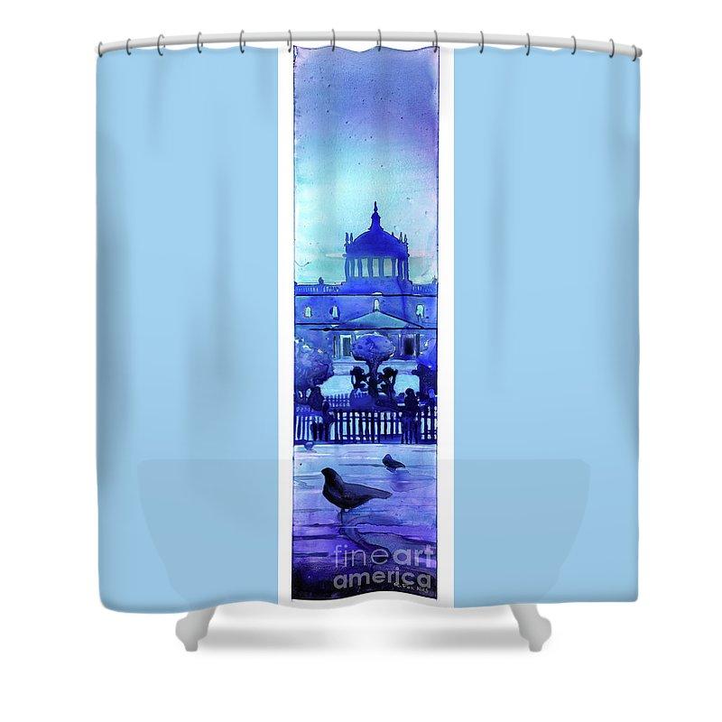 Architecture Guadalajara Shower Curtain featuring the painting Guadalajara Morning- Mexico by Ryan Fox