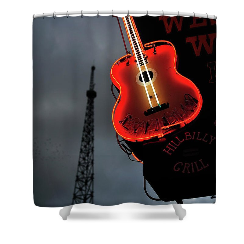 Outdoors Shower Curtain featuring the photograph Guitar With Nashville by James Atkinson Photography