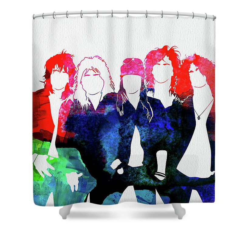 Guns N' Roses Shower Curtain featuring the mixed media Guns N' Roses Watercolor by Naxart Studio