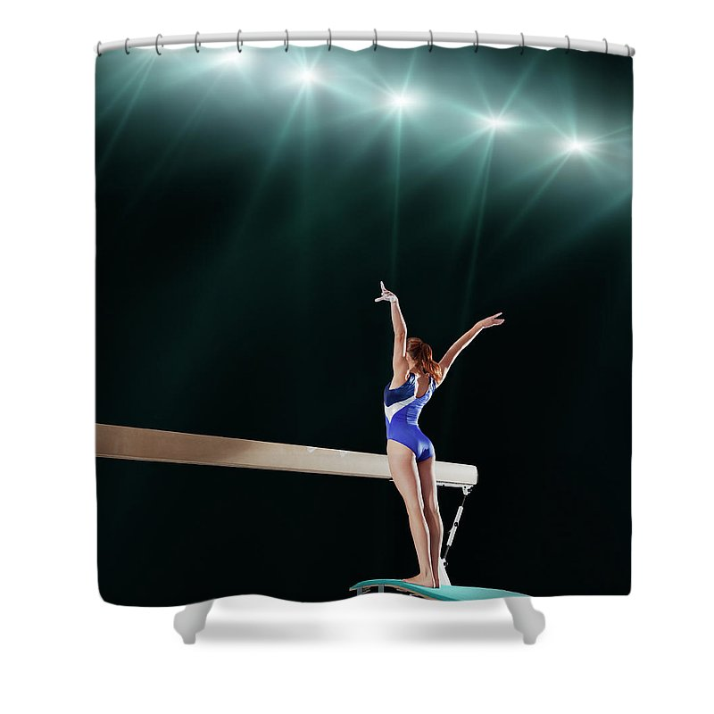Human Arm Shower Curtain featuring the photograph Gymnast Competing On Balance Beam by Robert Decelis Ltd