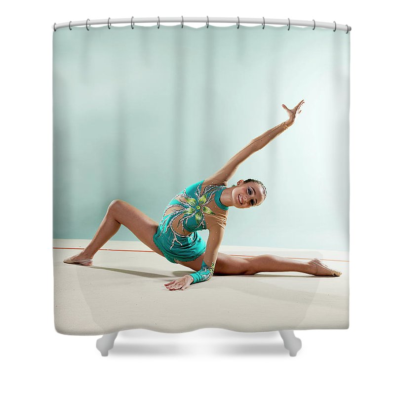 Human Arm Shower Curtain featuring the photograph Gymnast, Smiling, Bending Backwards by Emma Innocenti
