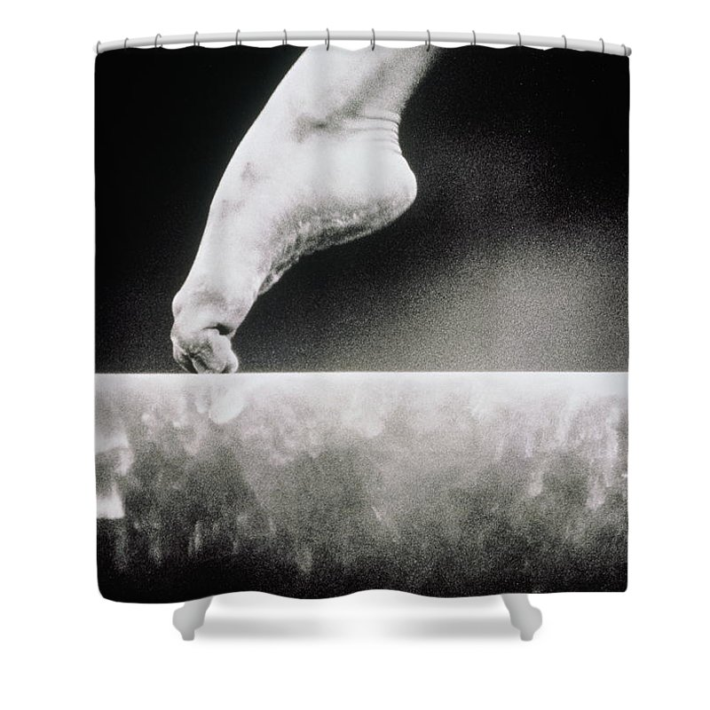 14-15 Years Shower Curtain featuring the photograph Gymnastics, Girls Foot On Balance Beam by David Madison