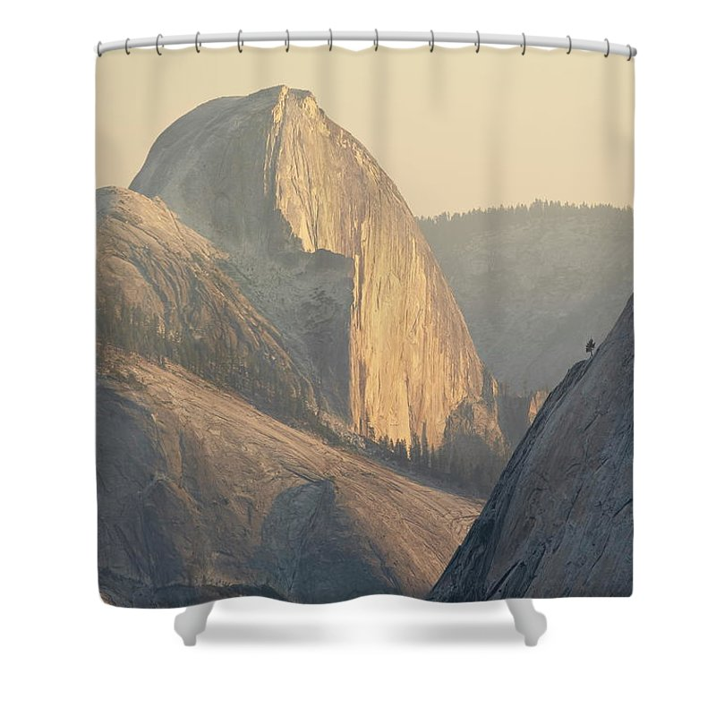 Scenics Shower Curtain featuring the photograph Half Dome At Sunset, Olmsted Point by James Hager / Robertharding