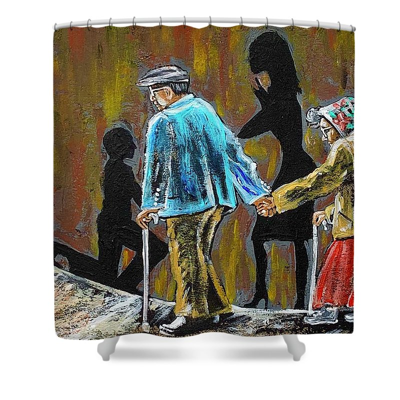 Love Shower Curtain featuring the painting Happiness Happened by Artist RiA