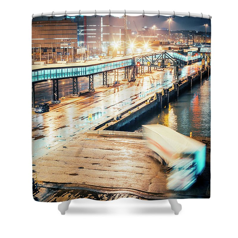 Industrial District Shower Curtain featuring the photograph Harbor Area by Peeterv