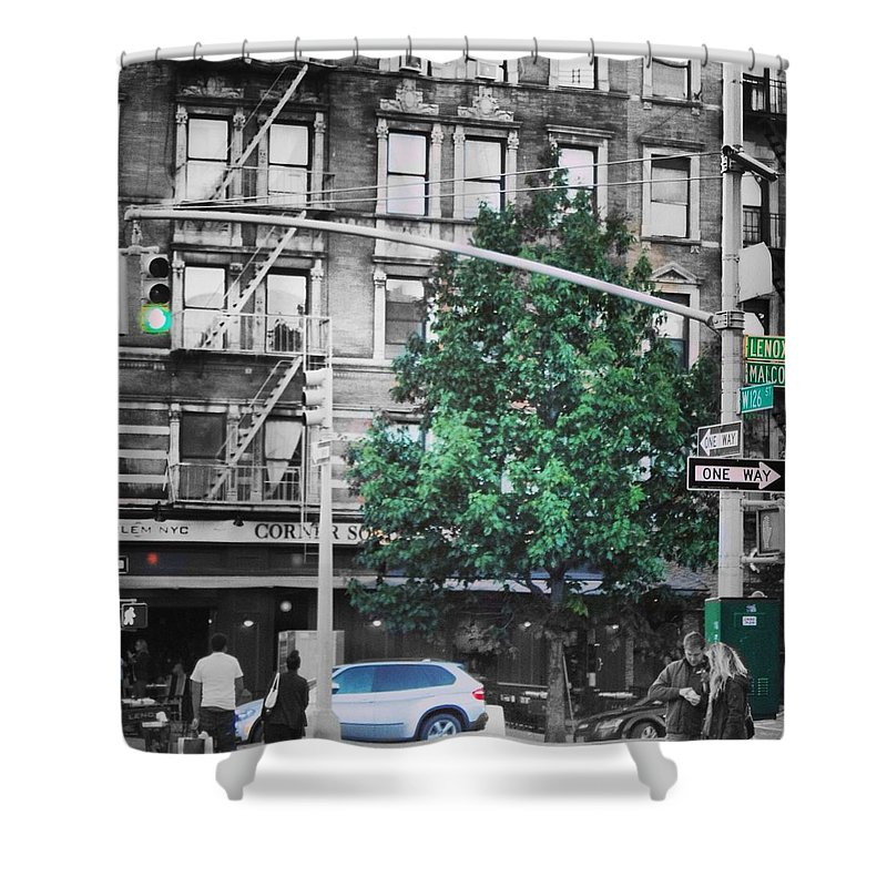 Urban Backdrop Shower Curtain featuring the digital art Harlem 2.0 by Bright Lights