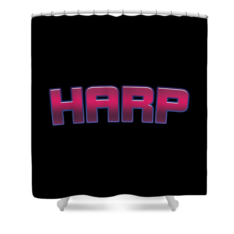 Harp Shower Curtain featuring the digital art Harp #harp by TintoDesigns
