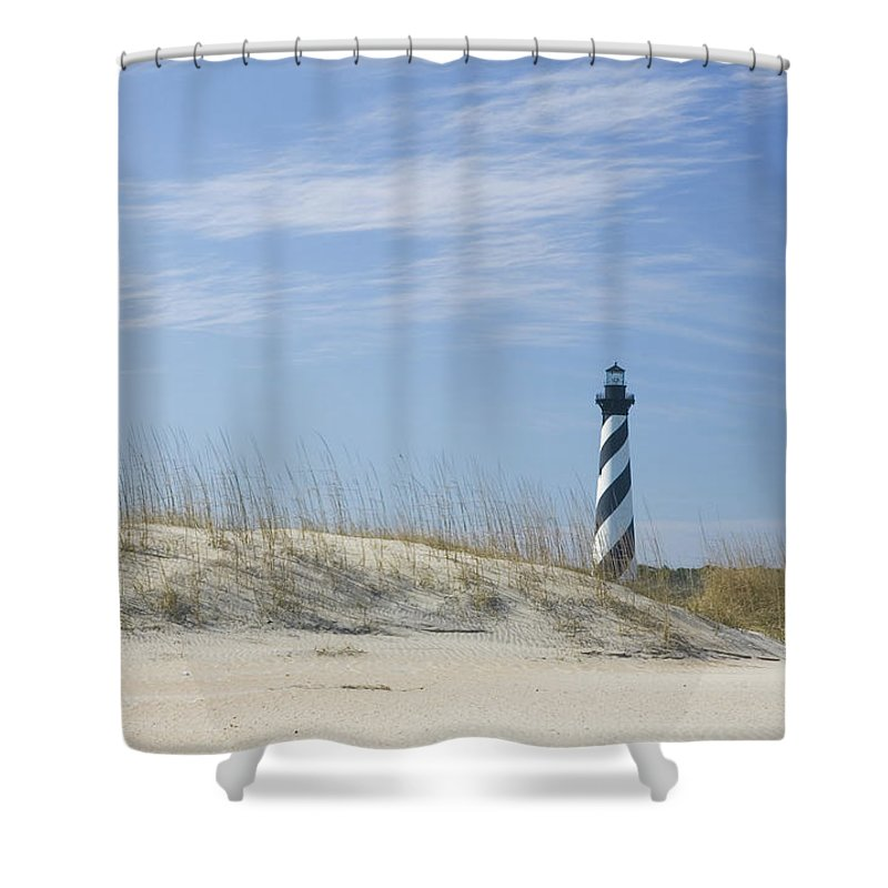 North Carolina Shower Curtain featuring the photograph Hatteras Lighthouse And The Dunes by Myhrcat