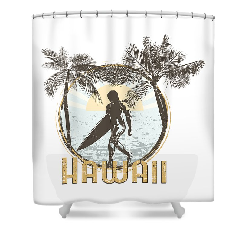 Beach Shower Curtain featuring the digital art Hawaii Surfer On Beach by Passion Loft