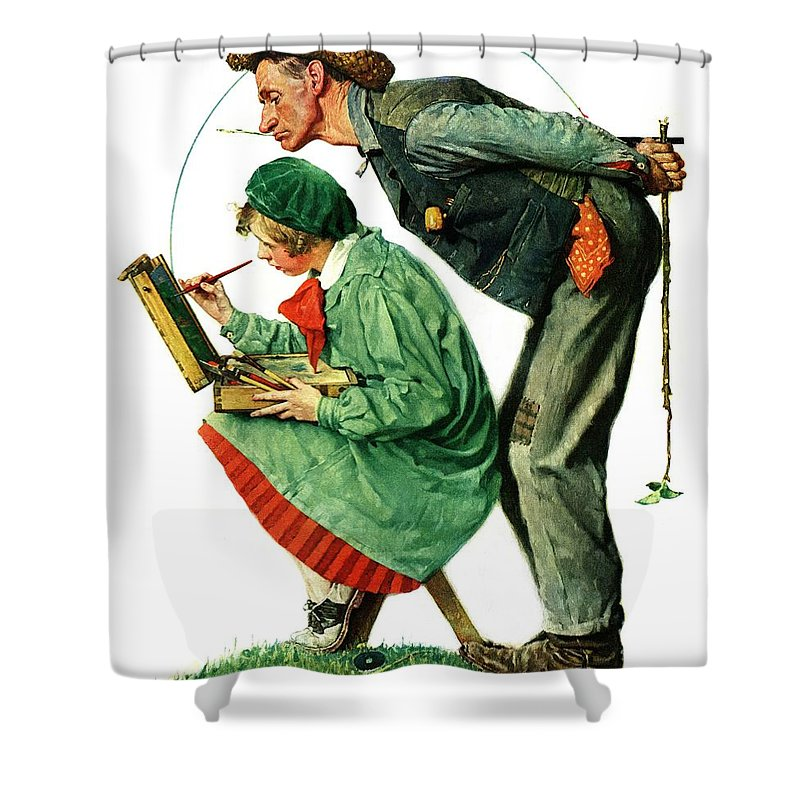 Artists Shower Curtain featuring the drawing hayseed Critic by Norman Rockwell