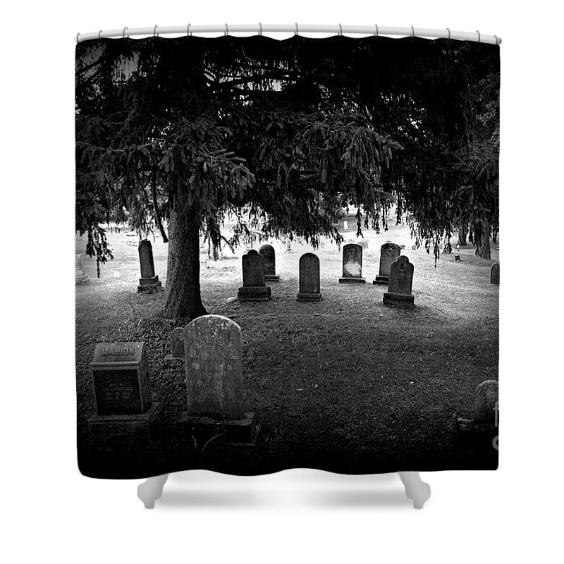 Cemetery Shower Curtain featuring the photograph He Did The Mash by Scott Ward