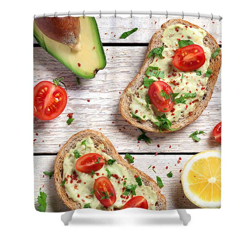 Breakfast Shower Curtain featuring the photograph Healthy Whole Grain Bread With Avocado by Barcin