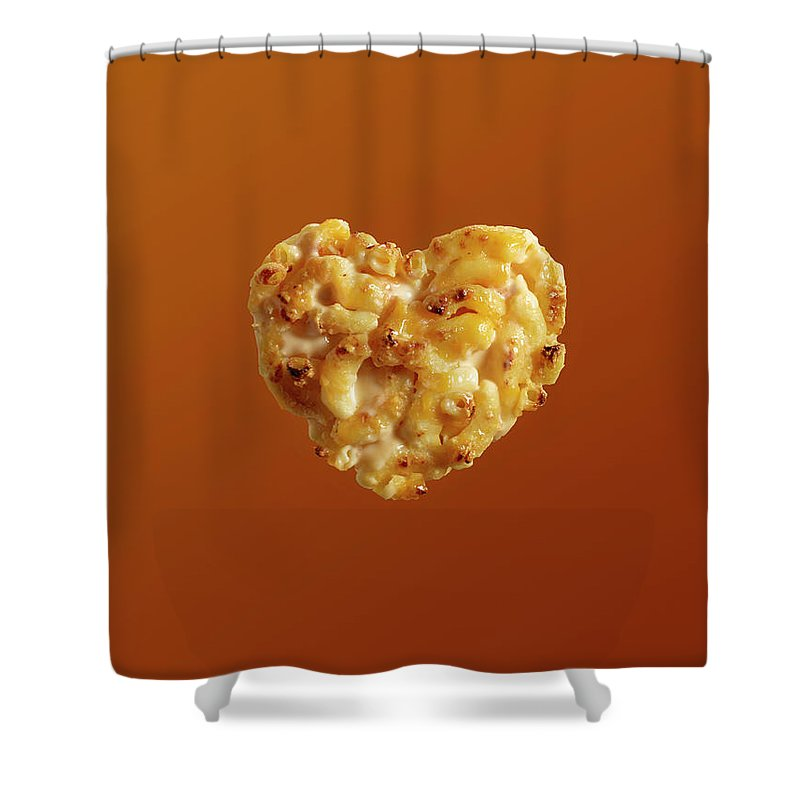 Cheese Shower Curtain featuring the photograph Heart Shaped Macaroni And Cheese On by Maren Caruso