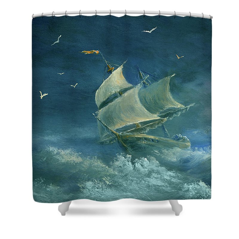 Image Shower Curtain featuring the digital art Heavy Gale by Pobytov