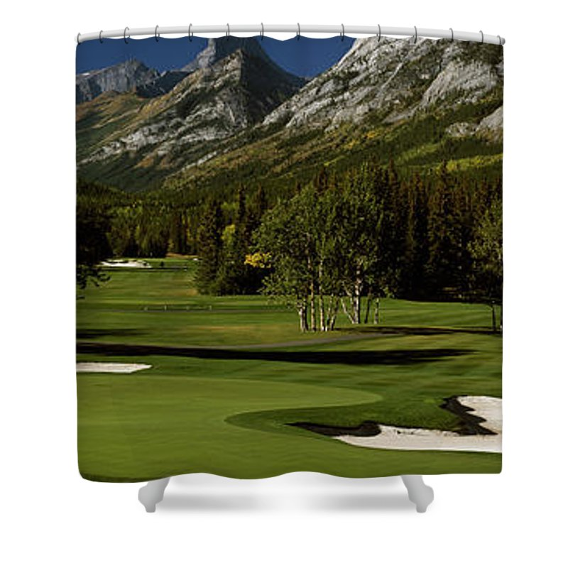 Photography Shower Curtain featuring the photograph High Angle View Of A Golf Course, Mt by Panoramic Images
