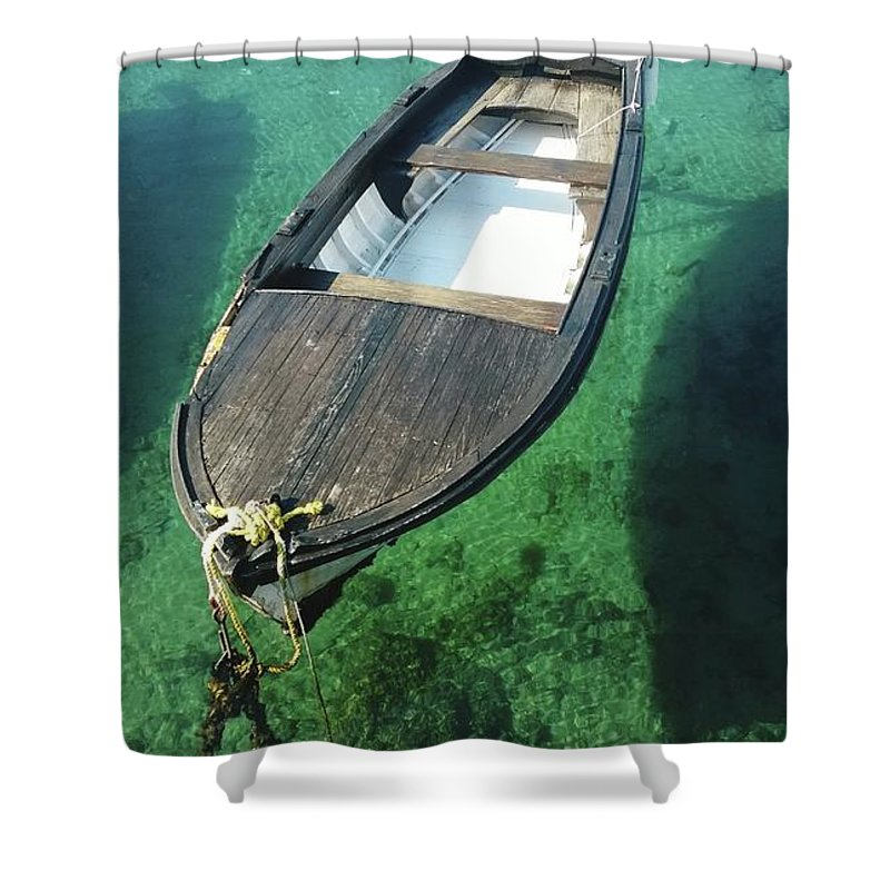 Tranquility Shower Curtain featuring the photograph High Angle View Of Boat Moored On Sea by Iva Saric / Eyeem