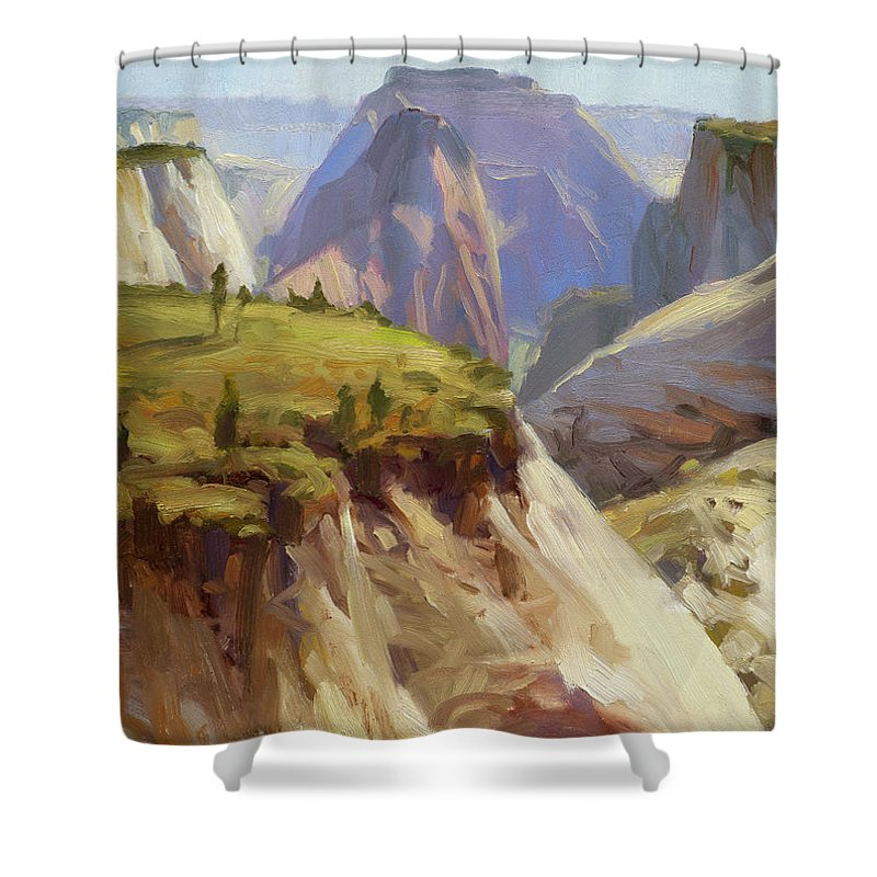 Zion Shower Curtain featuring the painting High On Zion by Steve Henderson