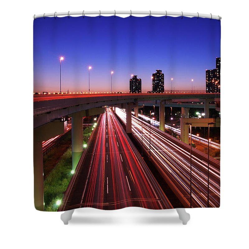 Two Lane Highway Shower Curtain featuring the photograph Highway At Night by Takuya Igarashi