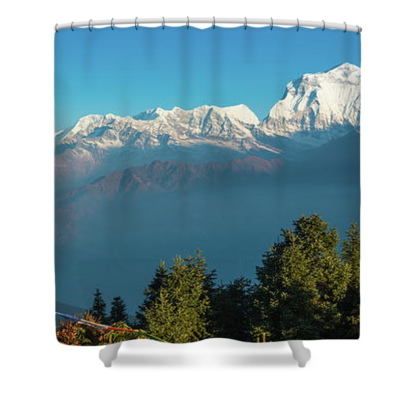Scenics Shower Curtain featuring the photograph Himalayas Prayer Flags Dhaulagiri 8167m by Fotovoyager