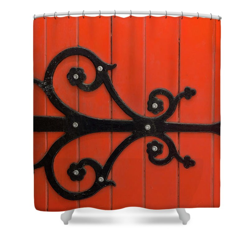 Orange Color Shower Curtain featuring the photograph Hinge by Jill Ferry Photography