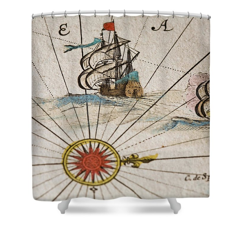 Engraving Shower Curtain featuring the digital art Historical Ships by Goldhafen