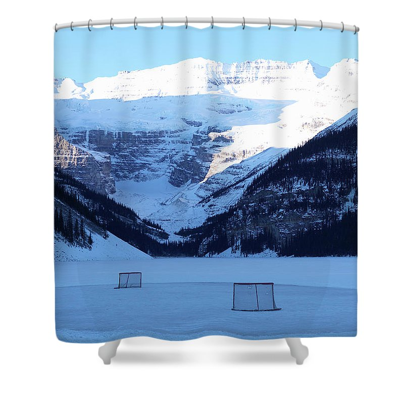 Scenics Shower Curtain featuring the photograph Hockey Net On Frozen Lake by Ascent/pks Media Inc.